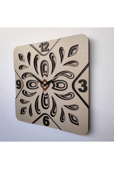 Desen Sanat Özel Tasarım Yonca Duvar Saati - Vizon