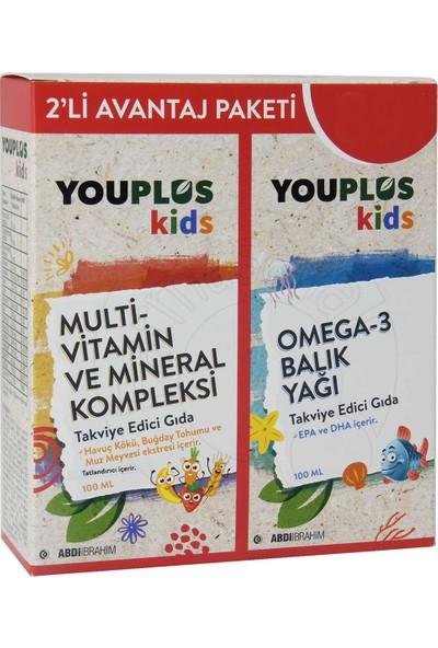Youplus Kids Multivitamin ve Mineral Kompleksi 100 ml + Omega 3 Balık Yağı 100 ml