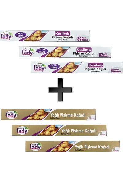 Miss Lady Yağlı Pişirme Kağıdı 8 Metre x 3 + Kesilmiş Yağlı Pişirme Kağıdı x 3 (8+2)