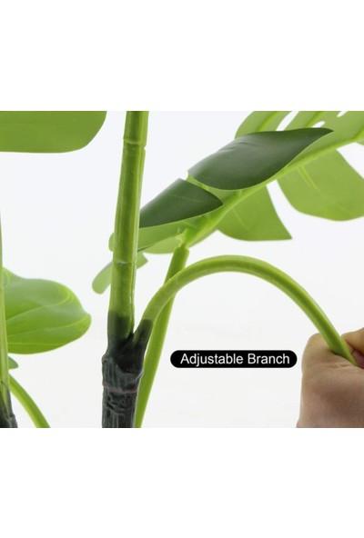 Nettenevime Yapay Çiçek Monstera Deve Tabanı Metal Mat Siyah Saksılı Yapay Bitki Salon Çiçeği 12 Yaprak