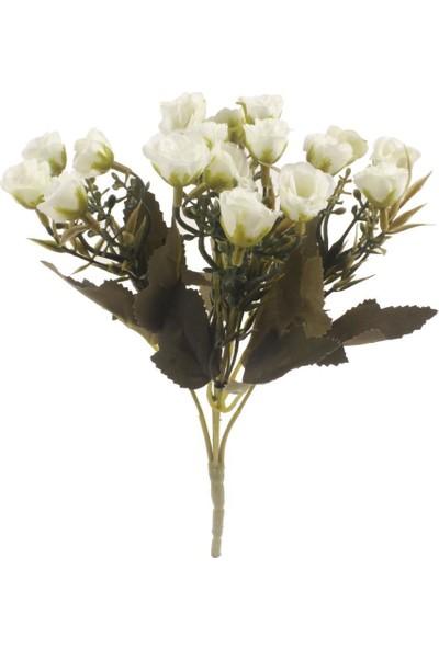 Nettenevime Yapay Çiçek Pastel Mini Fındık Gül 20 Kafa 5 Dal Demet Beyaz