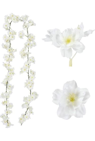 Nettenevime Yapay Çiçek Bahardalı 180CM Dolanabilen Model Japon Kiraz Çiçeği Beyaz