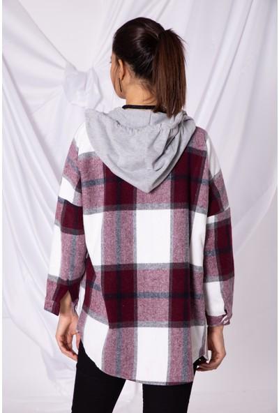 Zafoni Kadın Oduncu Kapüşonlu Cepli Bordo Gömlek