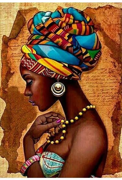Ananas Bilişim Sayılarla Boyama Hobi Seti + Fırça Tuval Ans-8 Afrikalı Kız A RB-4