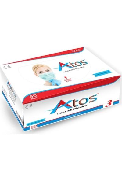 Atos Düz ve Esnek Lastikli Nonwoven Kumaşlı Ultrasonik Dikişli 3 Katlı Cerrahi Maske 50 Adet