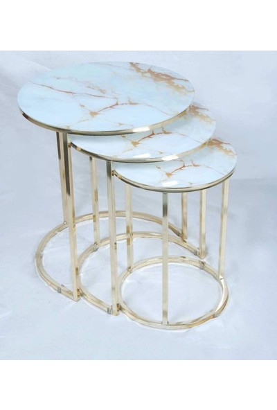 Ymz Beyaz Gold Mermer Desen 3'lü Zigon Sehpa