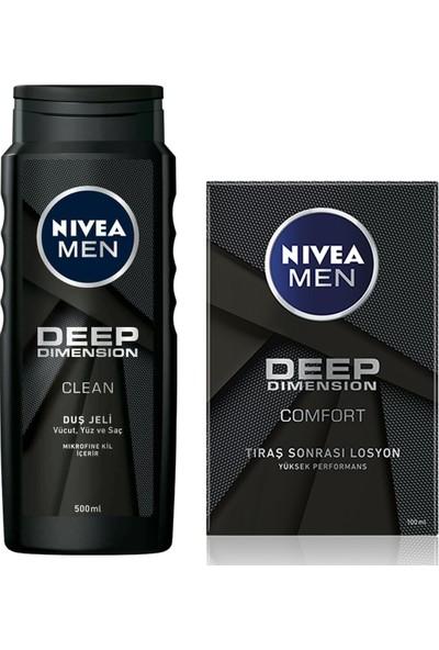 Nivea Men Deep Dimension Duş Jeli 500 ml + Nivea Deep Dimension Tıraş Losyonu 100 ml