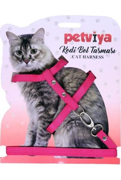 Petviya Ayarlanabilir Kedi Göğüs Bel Tasması Pembe