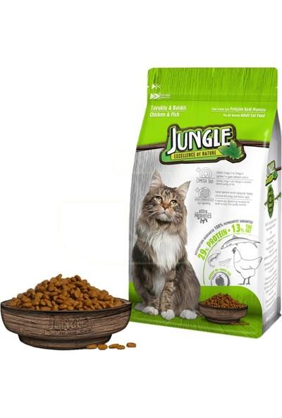 Jungle Jungle Tavuklu - Balıklı Yetişkin Kedi Maması 500 gr