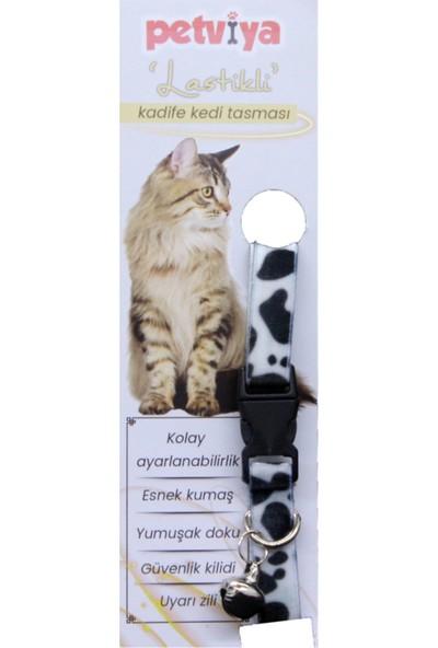 Petvi̇ya Desenli Kadife Kedi Boyun Tasması Zilli Siyah - Beyaz Kamuflaj