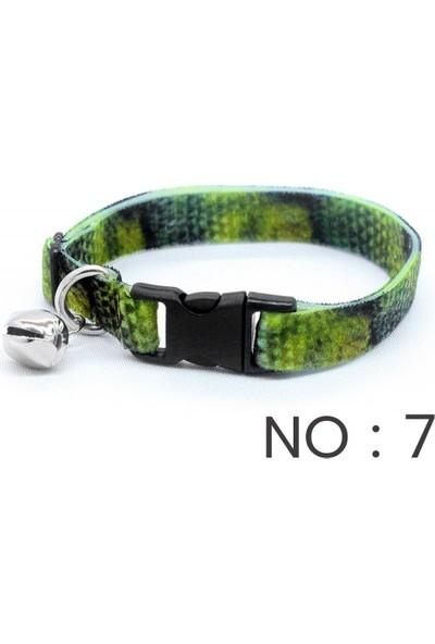 Petvi̇ya Desenli Kadife Kedi Boyunluk Tasması - Yeşil