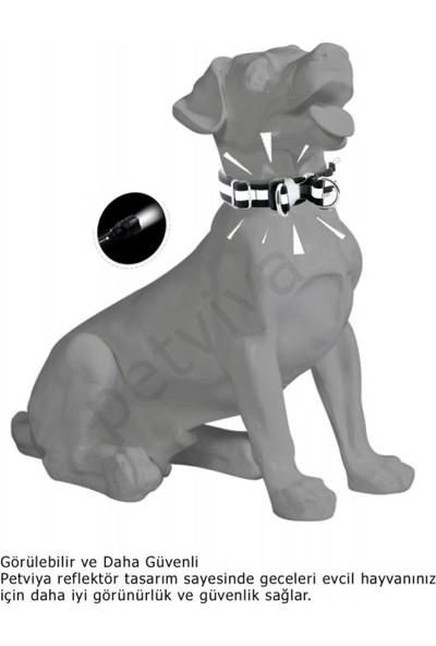Petvi̇ya Reflektörlü Yansıtıcılı Köpek Boyun Tasması Turuncu