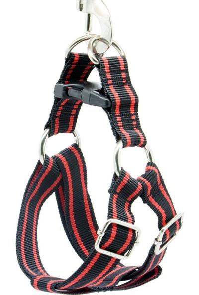 Petvi̇ya Siyah Kırmızı Ayarlanabilir Köpek Göğüs Tasması Medium