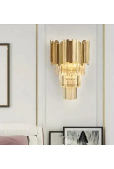 Burenze Lux Kristal Taşlı Aplik Gold Sarı