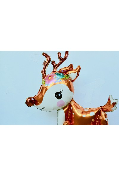 Ohlala Party Yılbaşı Temalı Üç Boyutlu Ren Geyiği Şeklinde Folyo Balon