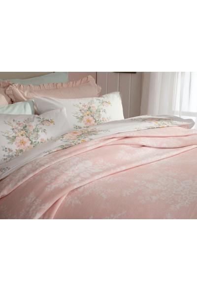 English Home Rosita Pamuklu Çift Kişilik Battaniye 200x220 cm Pembe-Beyaz