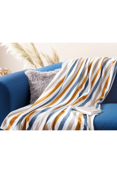 English Home Stripe Polar Tv Battaniye 120x170 cm Hardal