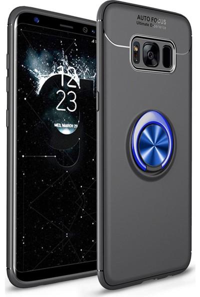 SaleShop Samsung Galaxy S8 Kılıf G950 Yüzüklü Standlı Silikon Rvl Siyah - Mavi