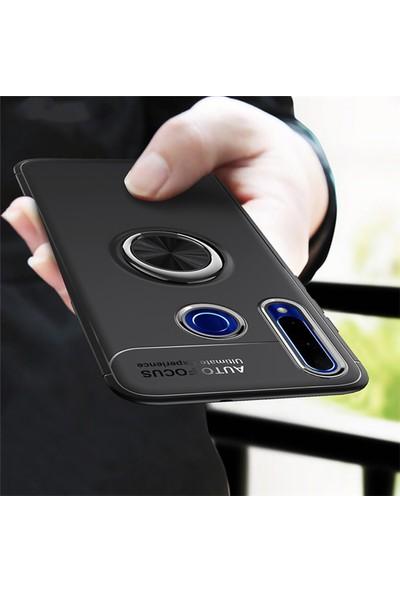 SaleShop Huawei P40 Lite E Kılıf Selfie Yüzüklü Esnek Silikon Rvl Siyah