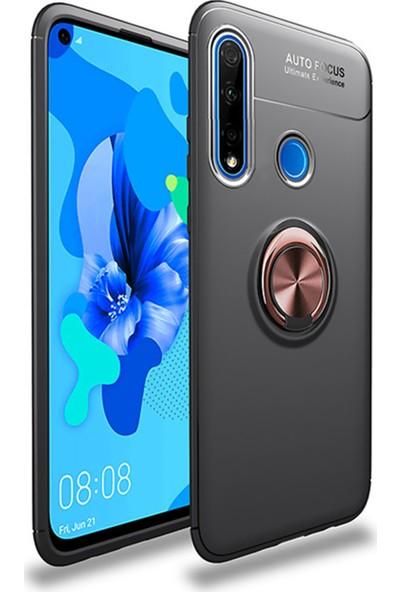 SaleShop Huawei P40 Lite E Kılıf Selfie Yüzüklü Esnek Silikon Rvl Siyah - Rose Gold