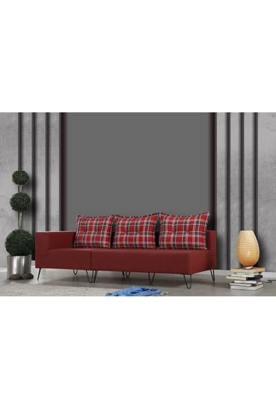 Pasific Home Roha Sağ Köşe Koltuk Kırmızı Köşe Tv Oturma Koltuğu Metal Ayaklı Koltuk