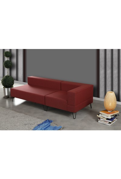Pasific Home Roha Sol Köşe Koltuk Kırmızı Köşe Tv Oturma Koltuğu Metal Ayaklı Koltuk