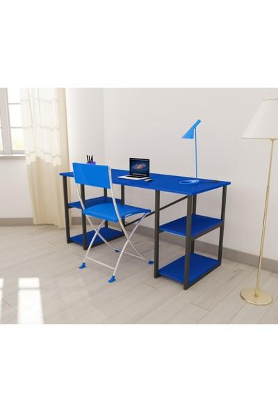 Panda Dizayn Renkli 4 Raflı Çalışma Masası Pembe - Mavi Çalışma Masası 60*150 Bilgisayar Ofis Ders Masası