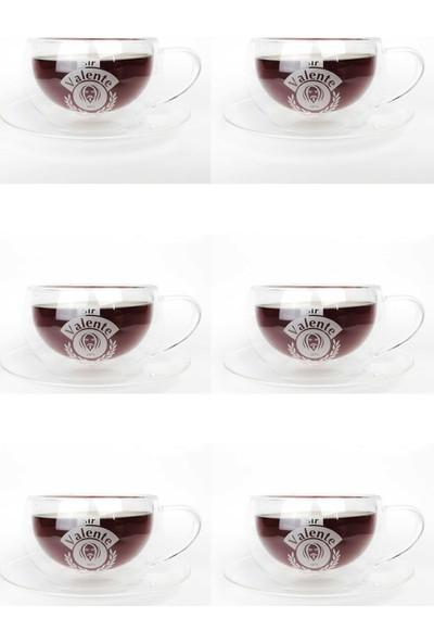 Cafe Valente Termo Cam Çay Fincanı 6 ad 300 cc