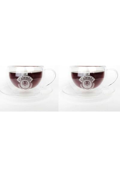 Cafe Valente Termo Cam Çay Fincanı 2 ad 300 cc