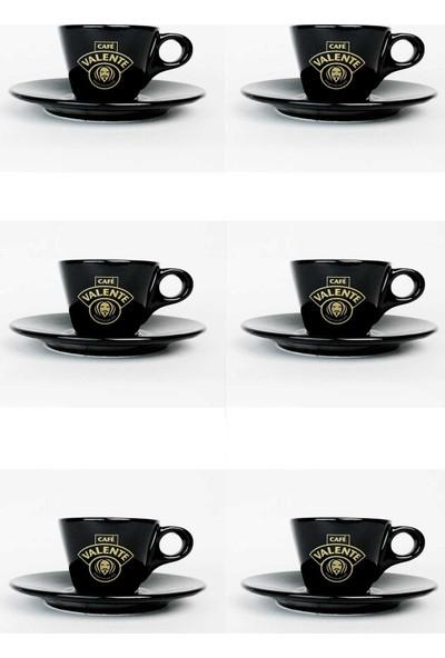 Cafe Valente Siyah Espresso Fincan + Tabak 6 ad