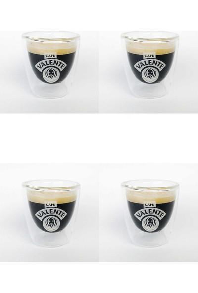 Cafe Valente Termo Cam Espresso Bardağı 4 ad 80 cc