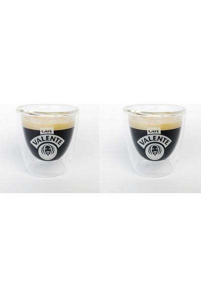 Cafe Valente Termo Cam Espresso Bardağı 2 ad 80 cc