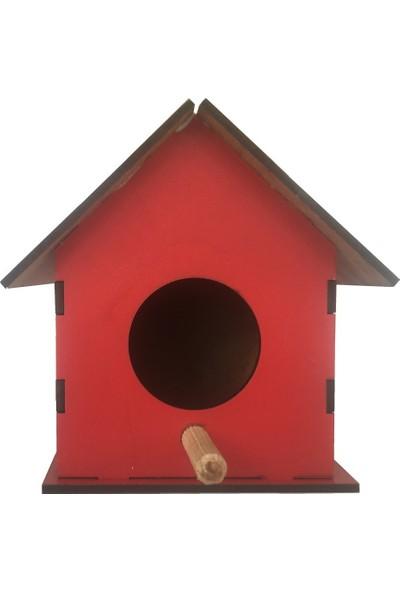 Mor Beyaz Home Renkli Ahşap Kuş Evi Kırmızı 10 x 10 x 12 cm Kırmızı