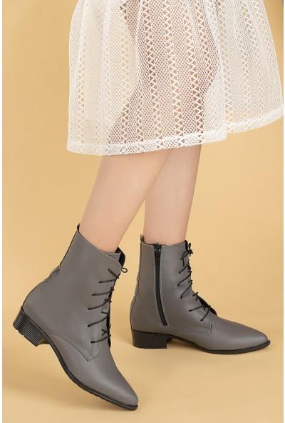 Ayakland 007-01 Cilt Bağcıklı Termo Taban Kadın Bot Ayakkabı