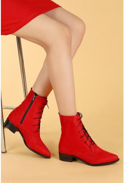 Ayakland 007-01 Süet Bağcıklı Termo Taban Kadın Bot Ayakkabı
