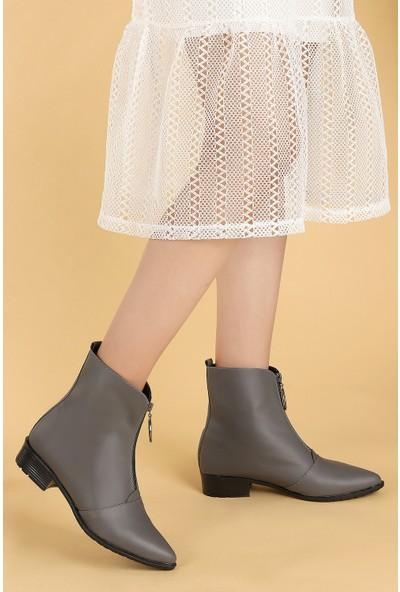 Ayakland 007-02 Cilt Fermuarlı Termo Taban Kadın Bot Ayakkabı