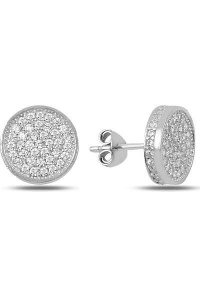 Zuk Collection Gümüş Zirkon Taşlı 3D Yuvarlak Küpe