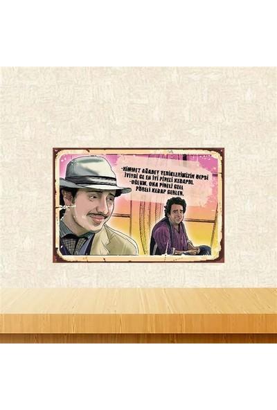 Selens Zeki İle Metin En İyi Pireli Kebapdı 20 x 30 cm Retro Ahşap Poster
