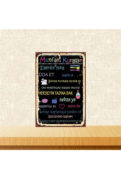 Selens Mutfak Kuralları 20 x 30 cm Retro Ahşap Poster