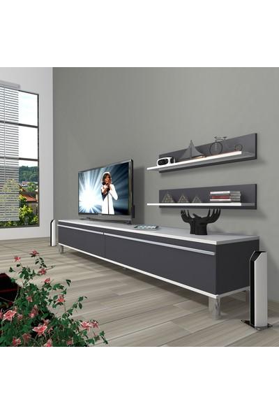 Decoraktiv Eko 4 Mdf Std Krom Ayaklı Tv Ünitesi Tv Sehpası Beyaz Antrasit