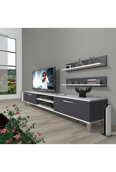 Decoraktiv Eko 4 Mdf DVD Krom Ayaklı Tv Ünitesi Tv Sehpası Beyaz Antrasit