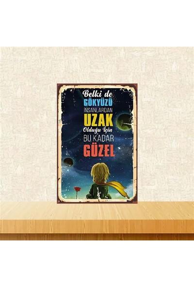 Selens Küçük Prens Belki De Gökyüzü 20 x 30 cm Retro Ahşap Poster