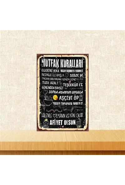 Selens Mutfak Kuralları 20 x 30 cm Retro Ahşap Poster TKFX4074