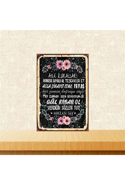Selens Aile Kuralları 20 x 30 cm Retro Ahşap Poster TKFX4076