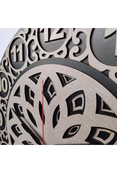 Desen Sanat Sarmaşık Duvar Saati 40 cm Vizon