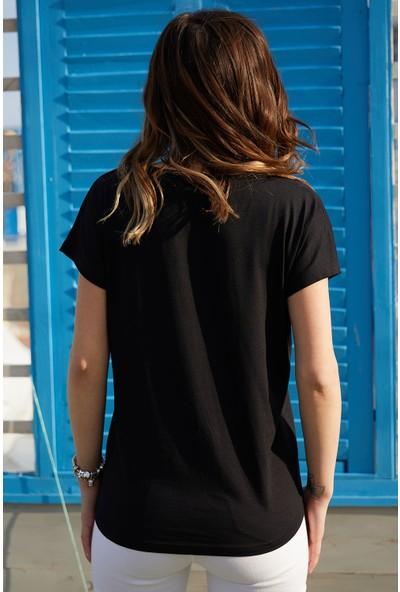Xhan Dantel Detaylı V Yaka Bluz 0YXK2-43359-02