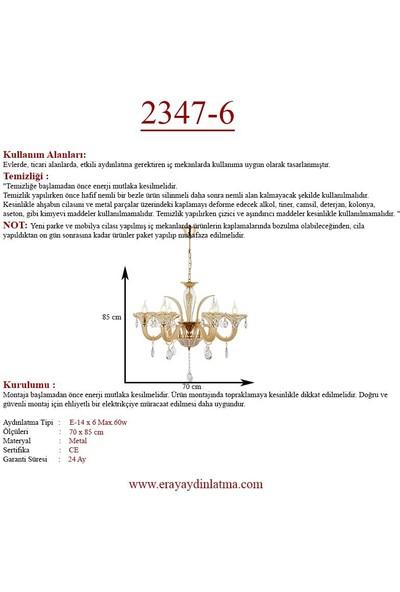 Eray Aydınlatma 2347-6 6'lı Krem Klasik Avize