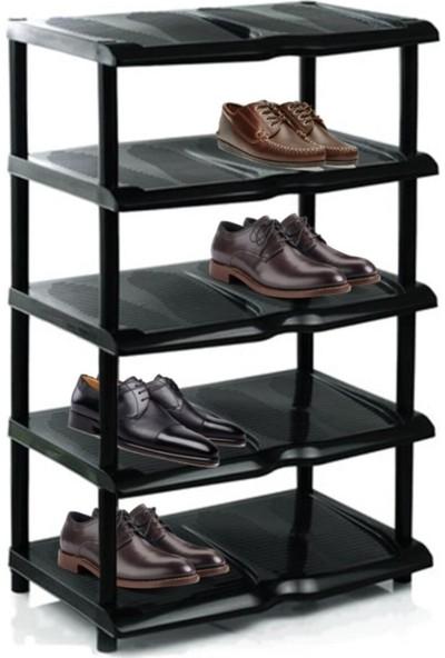 Meleni Home Eko 5 Katlı Plastik Siyah Ayakkabılık