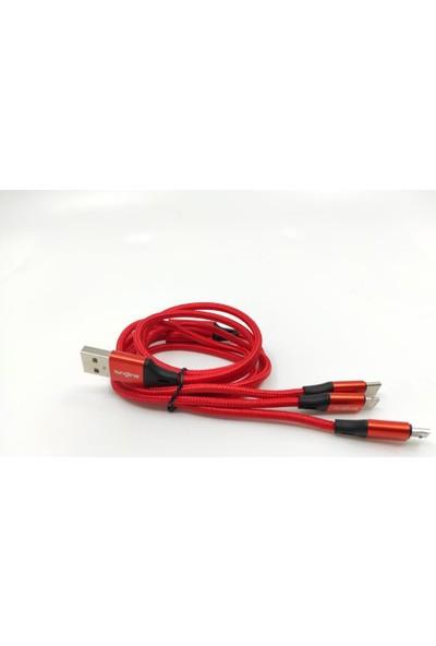 Longline 3'lü Hızlı Şarj Kablosu Typec Micro