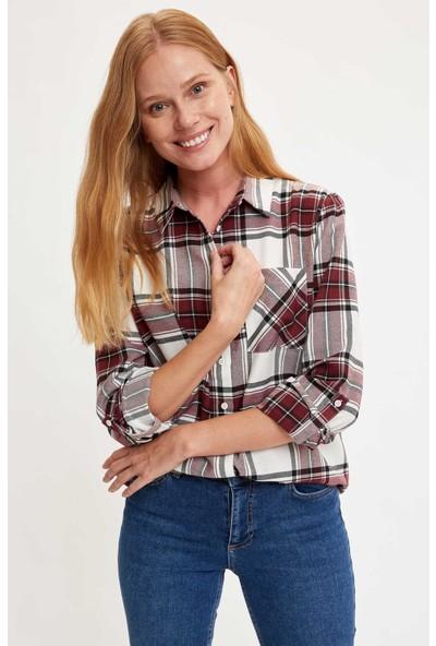 Defacto Kadın Kare Desenli Cepli Uzun Kollu Gömlek